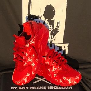 d7c4358172b Louis Vuitton Shoes - Supreme x Louis Vuitton Nike Triple Red Huaraches